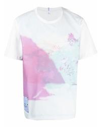 weißes bedrucktes T-Shirt mit einem Rundhalsausschnitt von McQ