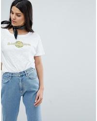 weißes bedrucktes T-Shirt mit einem Rundhalsausschnitt von MiH Jeans