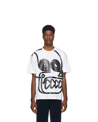 weißes bedrucktes T-Shirt mit einem Rundhalsausschnitt von Moncler Genius