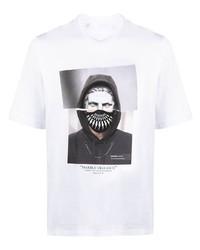 weißes bedrucktes T-Shirt mit einem Rundhalsausschnitt von Neil Barrett