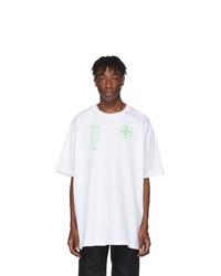 weißes bedrucktes T-Shirt mit einem Rundhalsausschnitt von Off-White