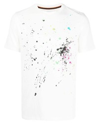 weißes bedrucktes T-Shirt mit einem Rundhalsausschnitt von Paul Smith