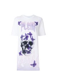 weißes bedrucktes T-Shirt mit einem Rundhalsausschnitt von Philipp Plein