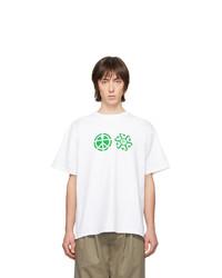 weißes bedrucktes T-Shirt mit einem Rundhalsausschnitt von Rassvet