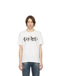 weißes bedrucktes T-Shirt mit einem Rundhalsausschnitt von Saint Laurent