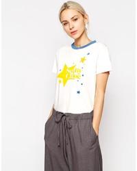 weißes bedrucktes T-Shirt mit einem Rundhalsausschnitt von See by Chloe