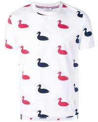 weißes bedrucktes T-Shirt mit einem Rundhalsausschnitt von Thom Browne