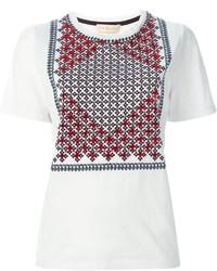 weißes bedrucktes T-Shirt mit einem Rundhalsausschnitt von Tory Burch