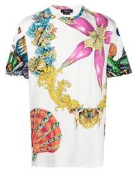 weißes bedrucktes T-Shirt mit einem Rundhalsausschnitt von Versace