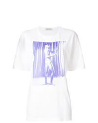 weißes bedrucktes T-Shirt mit einem Rundhalsausschnitt von Wales Bonner