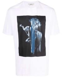 weißes bedrucktes T-Shirt mit einem Rundhalsausschnitt von Z Zegna