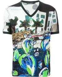 weißes bedrucktes T-Shirt mit einem V-Ausschnitt von Dolce & Gabbana