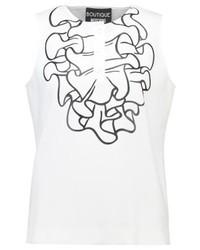 weißes bedrucktes T-shirt mit einer Knopfleiste von Moschino