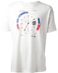 weißes bedrucktes T-Shirt mit Rundhalsausschnitt