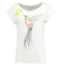 weißes bedrucktes T-Shirt mit einem Rundhalsausschnitt von Esprit