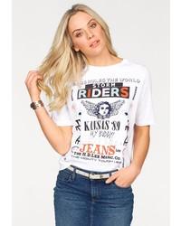 weißes bedrucktes T-Shirt mit einem Rundhalsausschnitt von Lee