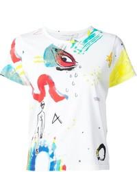 weißes bedrucktes T-Shirt mit einem Rundhalsausschnitt von Marc Jacobs