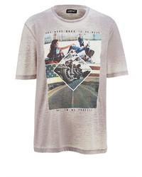 weißes bedrucktes T-Shirt mit einem Rundhalsausschnitt von MEN PLUS BY HAPPY SIZE