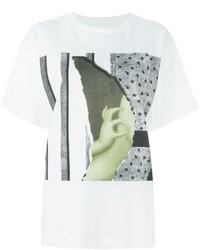 weißes bedrucktes T-Shirt mit einem Rundhalsausschnitt von MM6 MAISON MARGIELA
