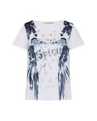 weißes bedrucktes T-Shirt mit einem Rundhalsausschnitt von MONARI