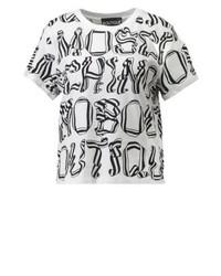 weißes bedrucktes T-Shirt mit einem Rundhalsausschnitt von Moschino