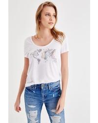 weißes bedrucktes T-Shirt mit einem Rundhalsausschnitt von OXXO