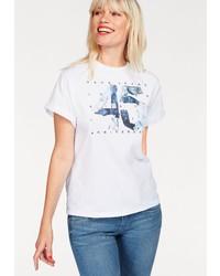 weißes bedrucktes T-Shirt mit einem Rundhalsausschnitt von Pepe Jeans