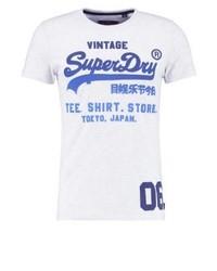 weißes bedrucktes T-Shirt mit einem Rundhalsausschnitt von Superdry