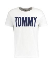 weißes bedrucktes T-Shirt mit einem Rundhalsausschnitt von Tommy Hilfiger