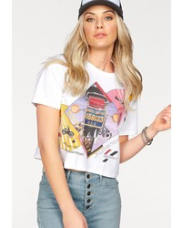 weißes bedrucktes T-Shirt mit einem Rundhalsausschnitt von Wrangler