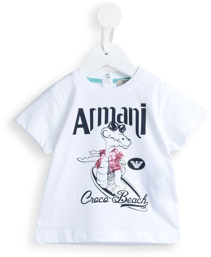 weißes bedrucktes T-shirt von Armani Junior