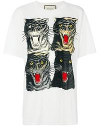 weißes bedrucktes T-shirt von Gucci