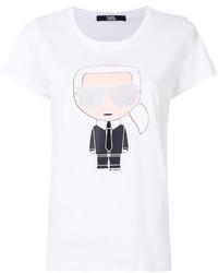 weißes bedrucktes T-shirt von Karl Lagerfeld