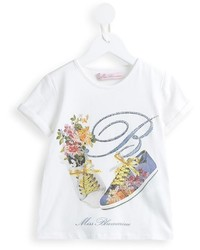weißes bedrucktes T-shirt von Miss Blumarine