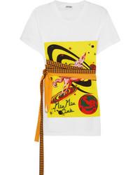 weißes bedrucktes T-shirt von Miu Miu
