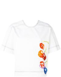 weißes bedrucktes T-shirt von MSGM