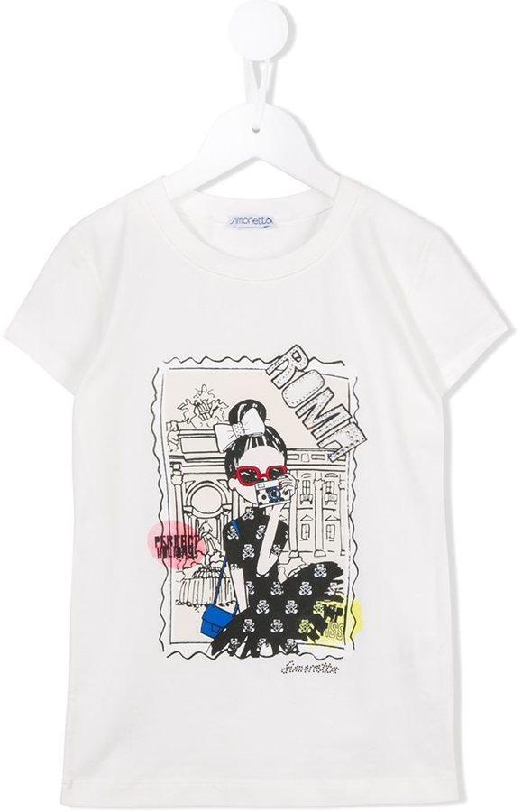 weißes bedrucktes T-shirt von Simonetta