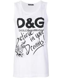 weißes bedrucktes Trägershirt von Dolce & Gabbana