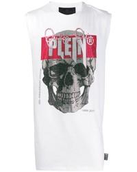 weißes bedrucktes Trägershirt von Philipp Plein