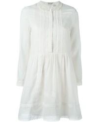 weißes besticktes ausgestelltes Kleid von Saint Laurent