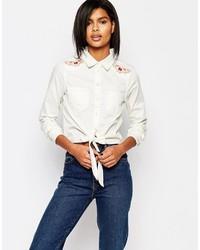 weißes besticktes Businesshemd von Vero Moda