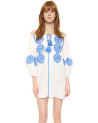 Weißes besticktes Gerade Geschnittenes Kleid von Line & Dot