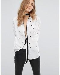weißes besticktes Hemd von Mango