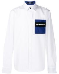 weißes besticktes Langarmhemd von Karl Lagerfeld