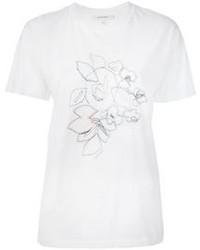 weißes besticktes T-Shirt mit einem Rundhalsausschnitt