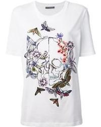 weißes besticktes T-Shirt mit einem Rundhalsausschnitt von Alexander McQueen