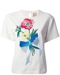 weißes besticktes T-Shirt mit einem Rundhalsausschnitt von Antonio Marras