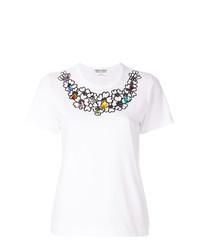 weißes besticktes T-Shirt mit einem Rundhalsausschnitt von Comme Des Garcons Comme Des Garcons