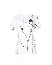weißes besticktes T-Shirt mit einem Rundhalsausschnitt von Derek Lam