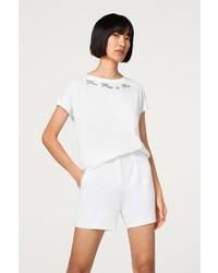 weißes besticktes T-Shirt mit einem Rundhalsausschnitt von Esprit